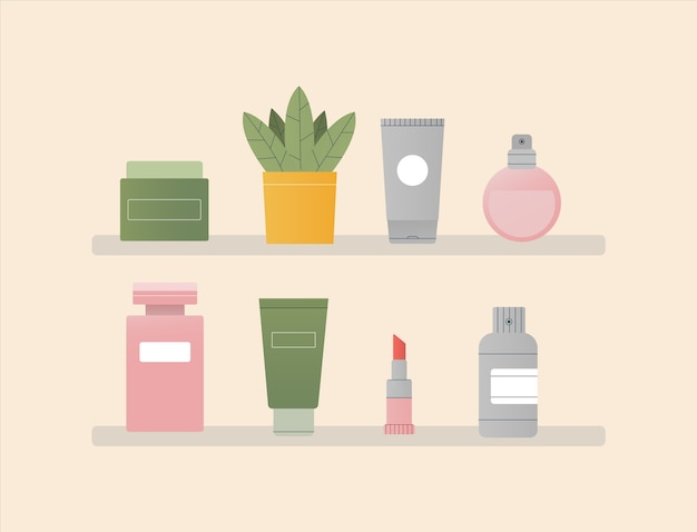 Soins cosmétiques debout sur une étagère