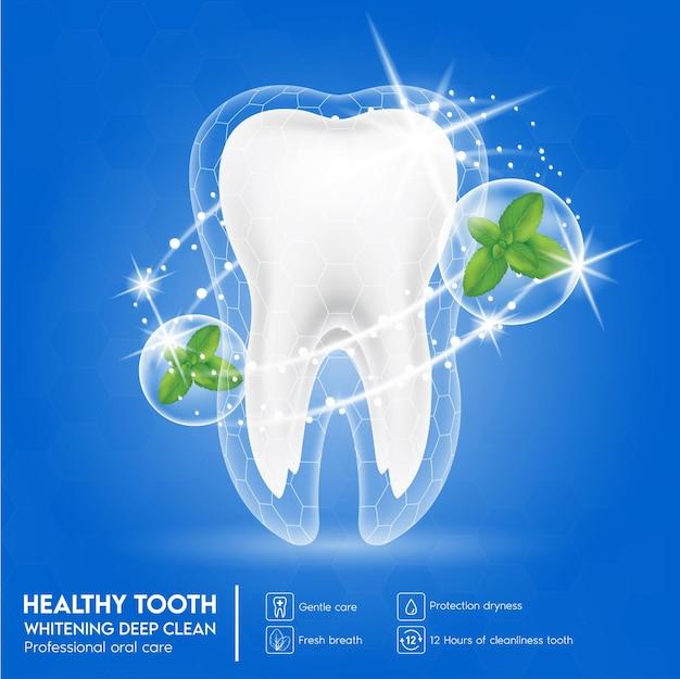 Soins dentaires dent et feuille de menthe