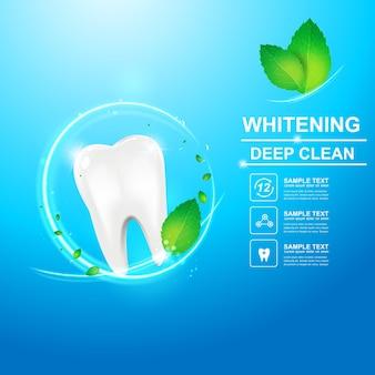 Soins dentaires et dents sur fond