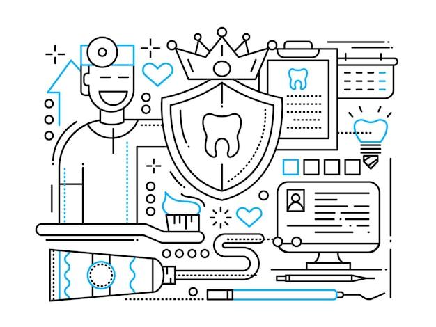 Soins dentaires - illustration de ligne simple avec dentiste et outils de soins des dents