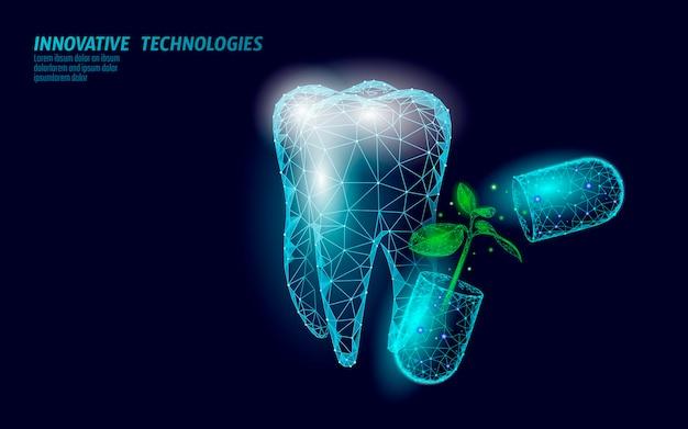 D soins dentaires naturels probiotiques capsule concept dent molaire anatomique émail sain alterna...