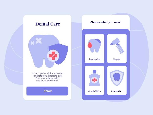 Soins dentaires réparation des maux de dents protection du rince-bouche