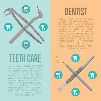 Soins des dents et dépliants verticaux du dentiste