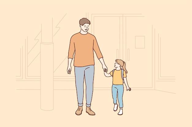 Les soins de l'enfance de la paternité aiment le concept d'éducation familiale.