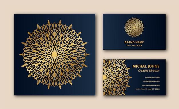 Soins de mandala en tissu arabesque florale carte de visite vecteur premium