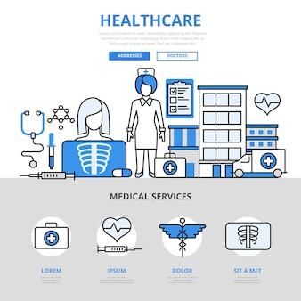 Soins médicaux service médical hôpital réanimation traitement checkup cure concept style de ligne plate.
