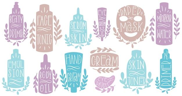 Soins de la peau mis la main dessiner. formez le texte cosmétique.