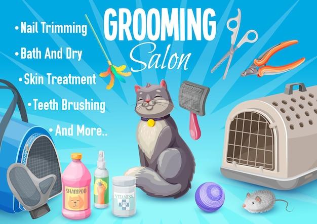 Soins pour animaux de compagnie, affiche de salon de toilettage pour chats avec chaton et produits de soins