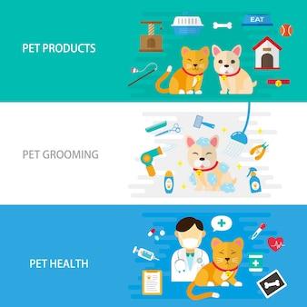 Soins pour animaux de compagnie design plat illustration produits pour animaux de compagnie