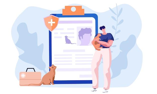 Soins pour animaux de compagnie, santé médicale pour chat et chien et autres animaux, protection et soins médicaux vétérinaires.