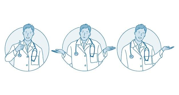 Soins de santé, assurance-maladie, médecin montrant le concept de signes.