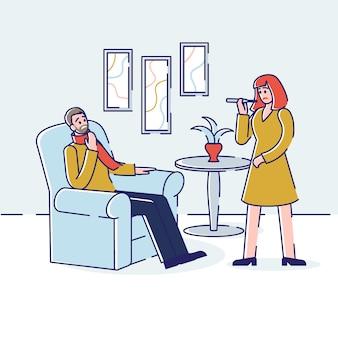 Soins de santé et concept commun de rhume. jeune homme malade avec maux de gorge et symptômes de la grippe. la femme mesure la température. plat linéaire de contour de dessin animé.