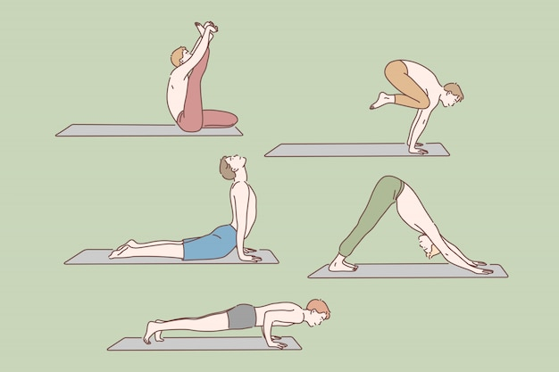 Soins de santé, exercices de yoga set concept