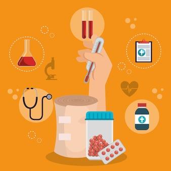 Soins de santé avec icônes définies