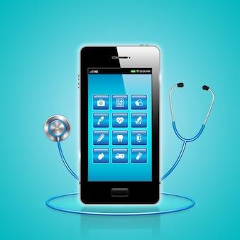 Soins de santé et médical en ligne par smartphone sur app