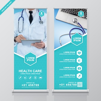 Soins de santé et médical roll up et conception de bannière de voyageur debout