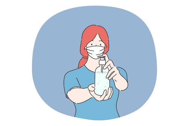 Soins de santé, quarantaine, protection, concept d'infection à coronavirus. jeune femme avec masque facial médical verser un antiseptique hygiénique sur les mains. mesures sanitaires de la maladie covid19 ou du risque biologique 2019ncov