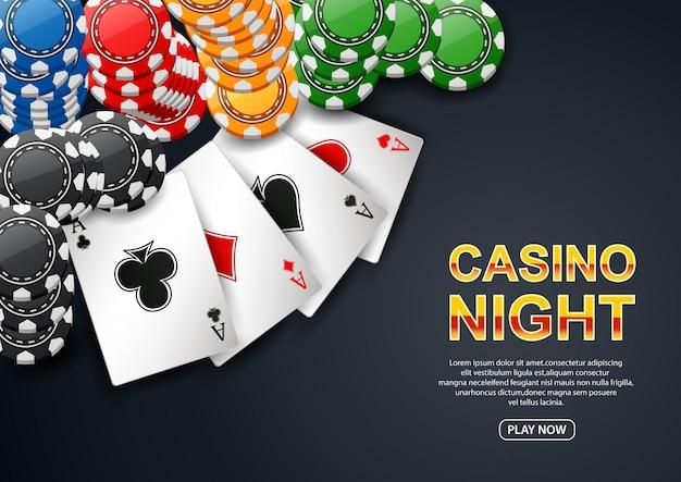 Soirée casino. avec chip poker et carte à jouer sur fond noir. flyer, affiche ou bannière.