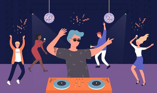 Soirée musicale en boîte de nuit, amis de dessins animés écoutent de la musique dj et dansent