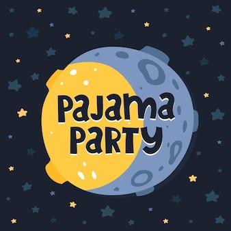 Soirée pyjama. illustration avec lune de dessin animé