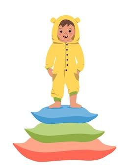 Soirée pyjama pour enfants. ensemble d'enfants portant des combinaisons ou des kigurumi de différents animaux isolés sur fond blanc. déguisements de carnaval. illustration vectorielle de dessin animé plat.
