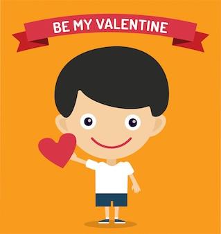 Sois ma valentine. garçon mignon dessin animé avec illustration vectorielle coeur