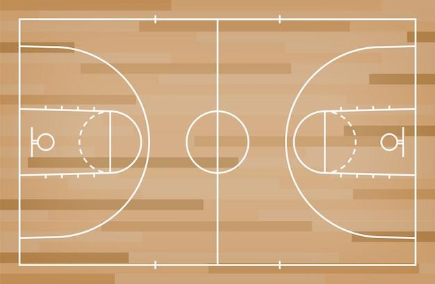 Sol de terrain de basket avec motif de lignes sur fond de bois.