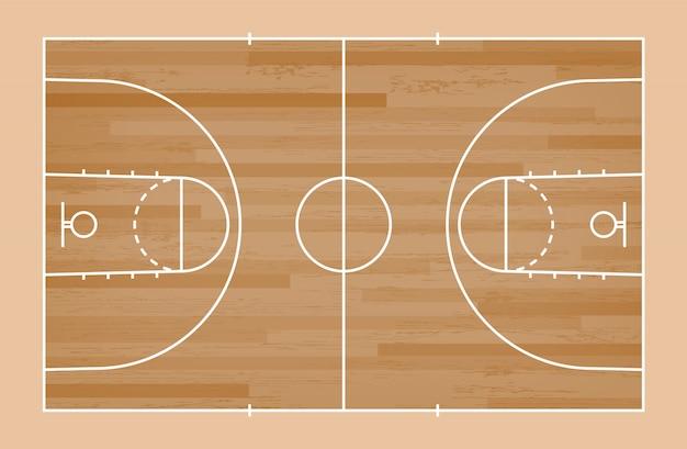 Sol de terrain de basket vert avec motif de ligne