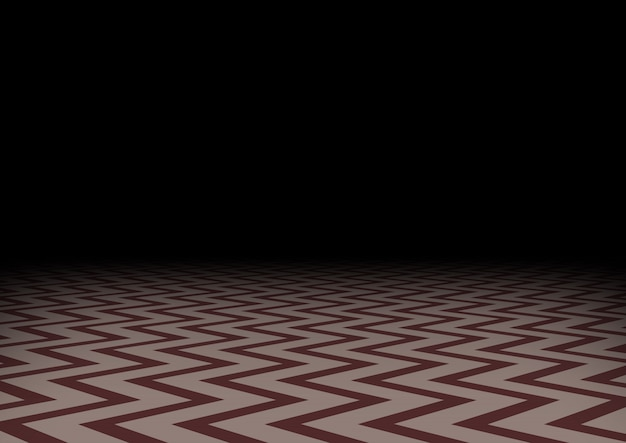 Sol en zigzag rouge dans l'obscurité. fond sombre abstrait horizontal. salle mystique, illustration.