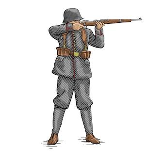 Soldat allemagne armée visant dessin
