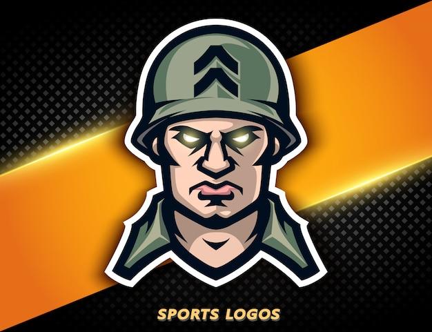 Soldat américain de logo professionnel. mascotte de sport, label e-sport.