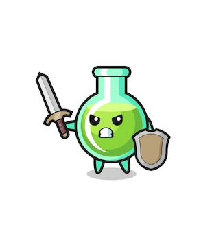 Soldat de béchers de laboratoire mignon combattant avec épée et bouclier, design de style mignon pour t-shirt, autocollant, élément de logo