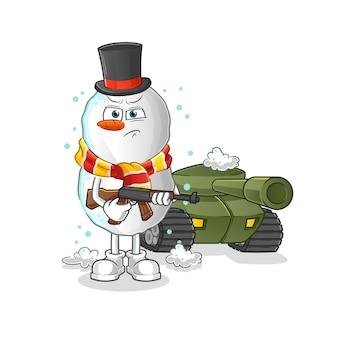 Soldat bulgogi avec mascotte de dessin animé de réservoir