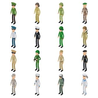 Soldat character icons set. illustration isométrique de 16 icônes vectorielles de caractère soldat pour le web