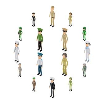 Soldat character icons set, style isométrique