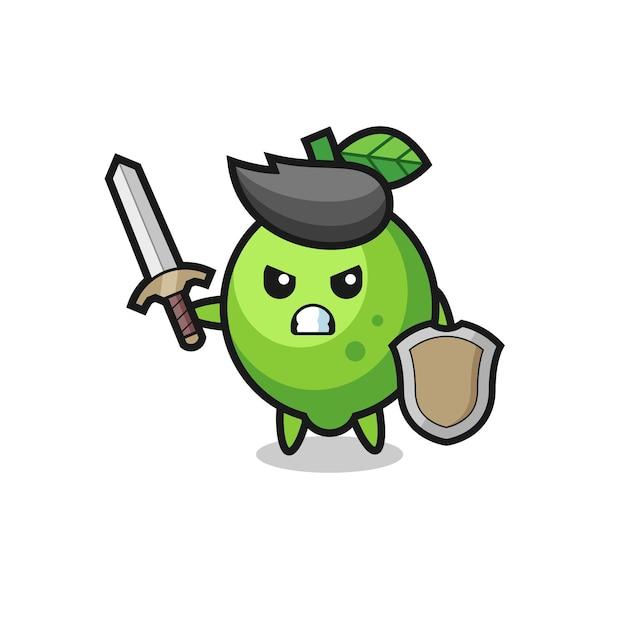 Soldat de citron vert mignon combattant avec épée et bouclier, design de style mignon pour t-shirt, autocollant, élément de logo
