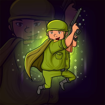 Le soldat cool avec la conception de mascotte esport d'armes à feu d'illustration