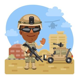 Soldat de dessin animé à la base militaire