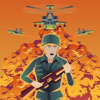 Un soldat échappe à une bombe tandis qu'un hélicoptère et un avion de combat survolent