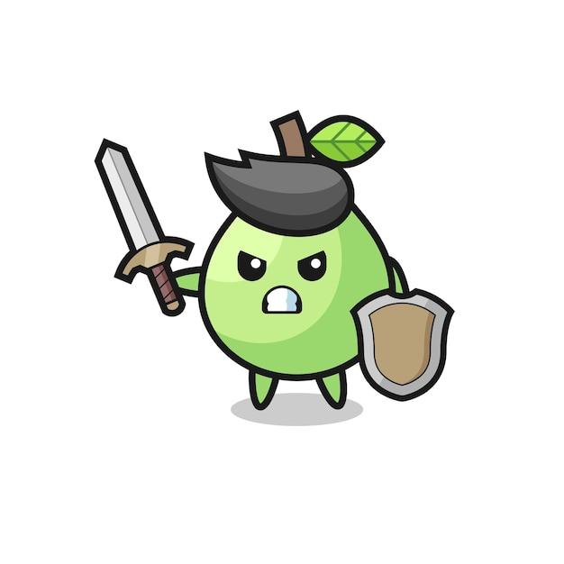 Soldat de goyave mignon combattant avec épée et bouclier, design de style mignon pour t-shirt, autocollant, élément de logo