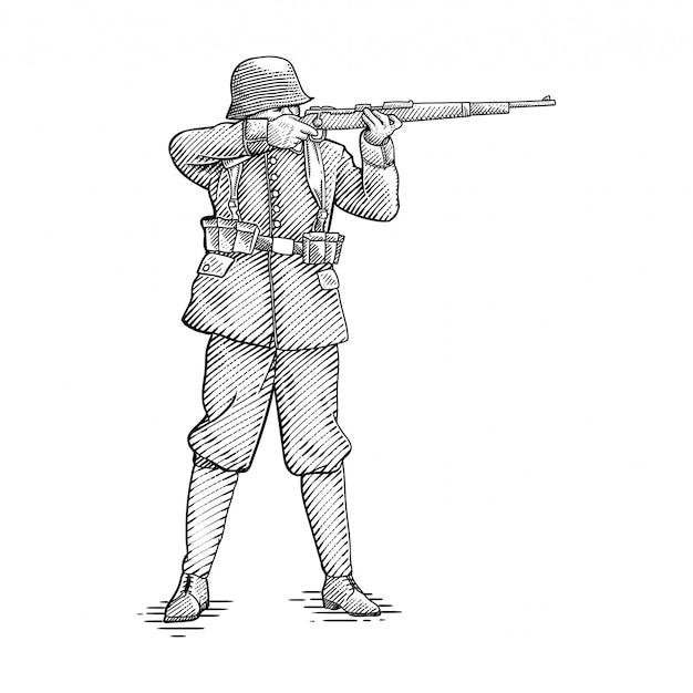 Soldat gravé dessin à la main
