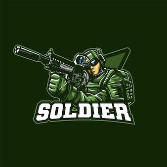 Soldat avec illustration de logo de mascotte de fusil