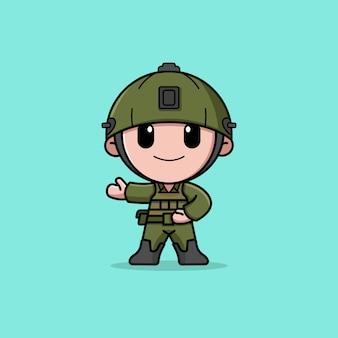 Soldat avec mascotte de personnage de logo de casque
