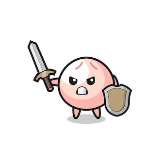 Soldat de meatbun mignon combattant avec épée et bouclier, design de style mignon pour t-shirt, autocollant, élément de logo