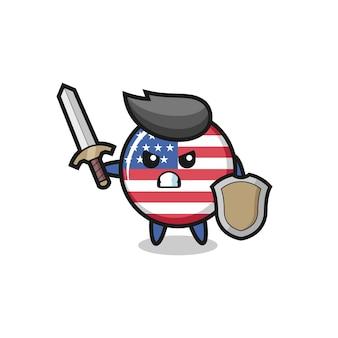 Soldat mignon d'insigne de drapeau des états-unis combattant avec l'épée et le bouclier, conception mignonne de style pour le t-shirt, autocollant, élément de logo