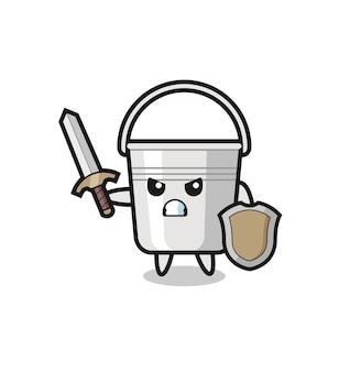 Soldat mignon de seau en métal combattant avec l'épée et le bouclier, conception mignonne de modèle pour le t-shirt, autocollant, élément de logo