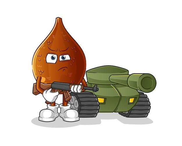 Soldat des palmiers épineux avec personnage de char