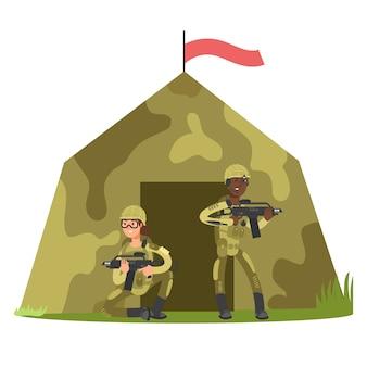 Soldat de personnage de bande dessinée et illustration vectorielle tente militaire