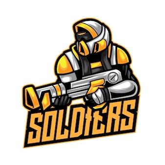 Soldat robot guerrier logo esport