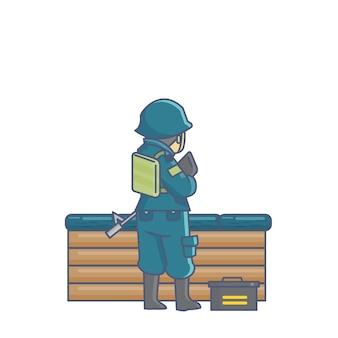 Soldat uniforme enregistrer camp prêt à combat